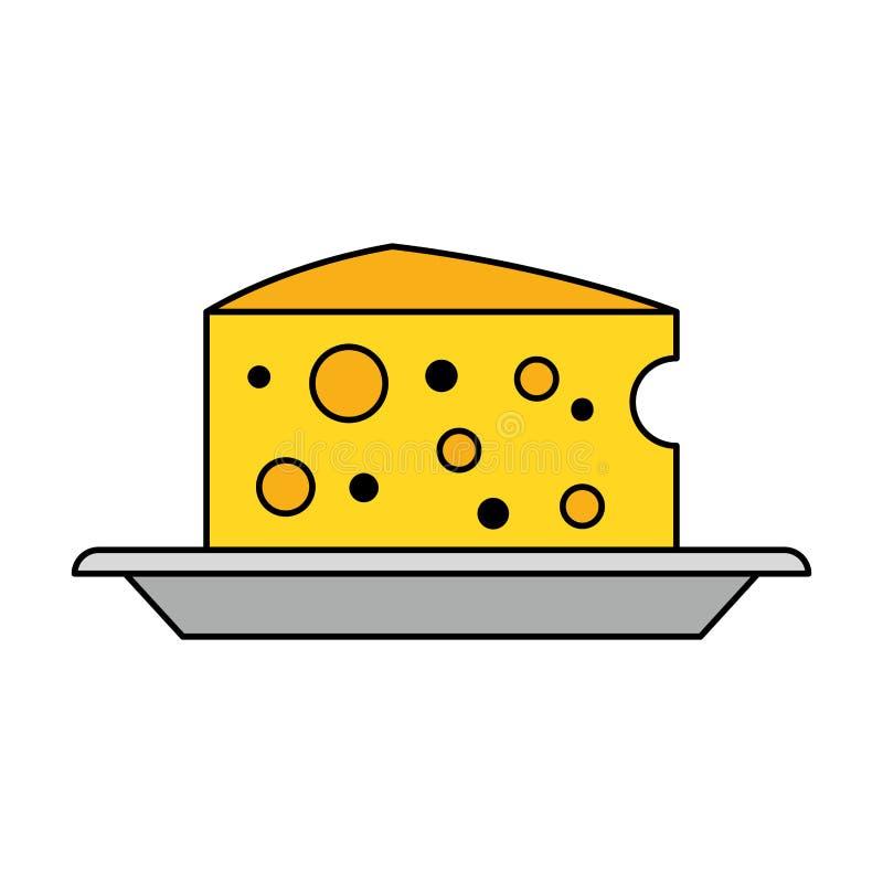 盘食物的乳酪牛奶店 库存例证