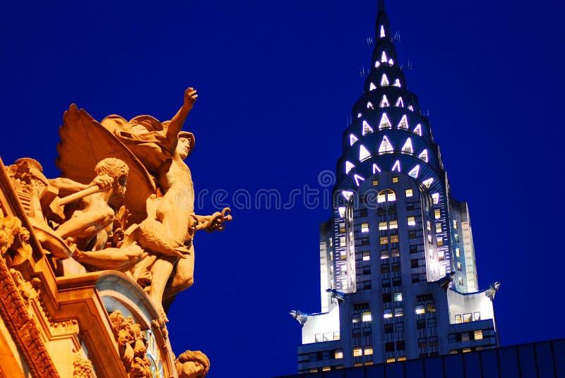 盛大中央驻地和克莱斯勒大厦,纽约 库存图片