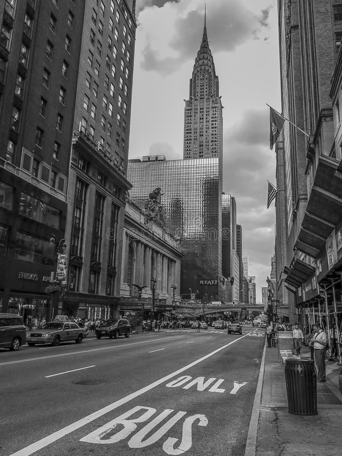 盛大中央驻地和克莱斯勒大厦, NY 图库摄影