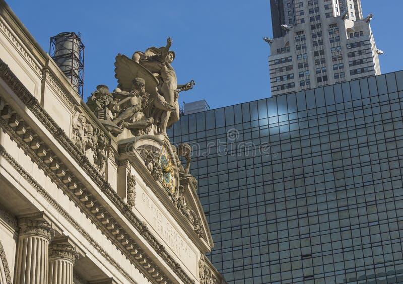 盛大中央终端驻地外部时钟在纽约 库存照片