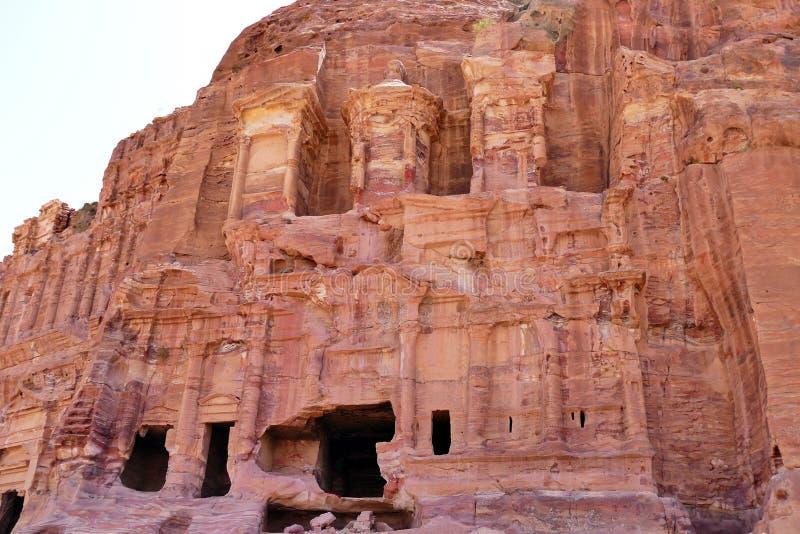 盛大哥林斯人坟茔在Petra失去的城市,约旦 库存照片