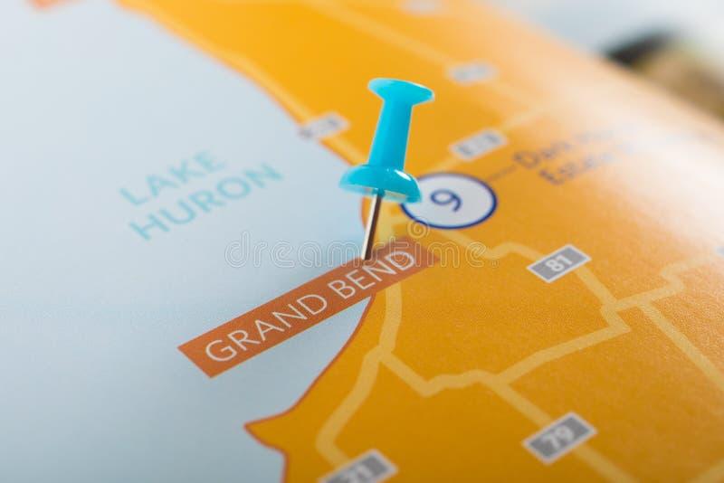 盛大弯安大略加拿大地图 库存图片