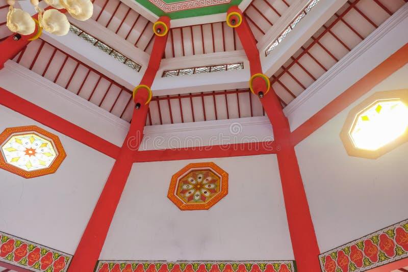 盛大清真寺城hoo在Purbalingga,印度尼西亚内部  免版税库存照片