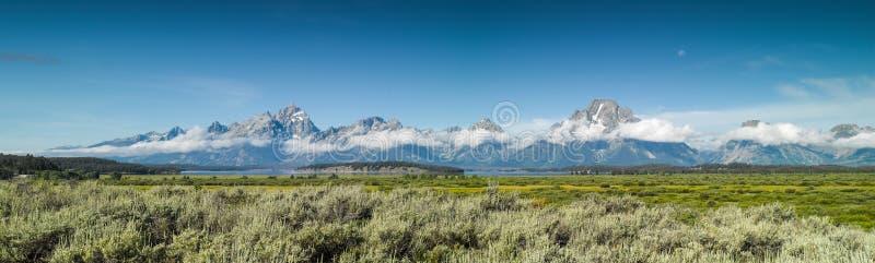 盛大Tetons国家公园全景 免版税图库摄影
