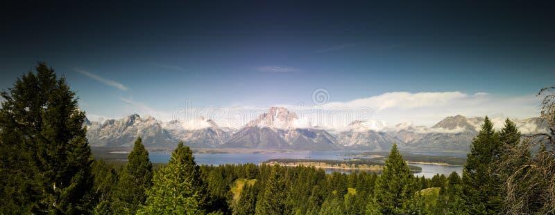 盛大Tetons国家公园全景 免版税库存照片