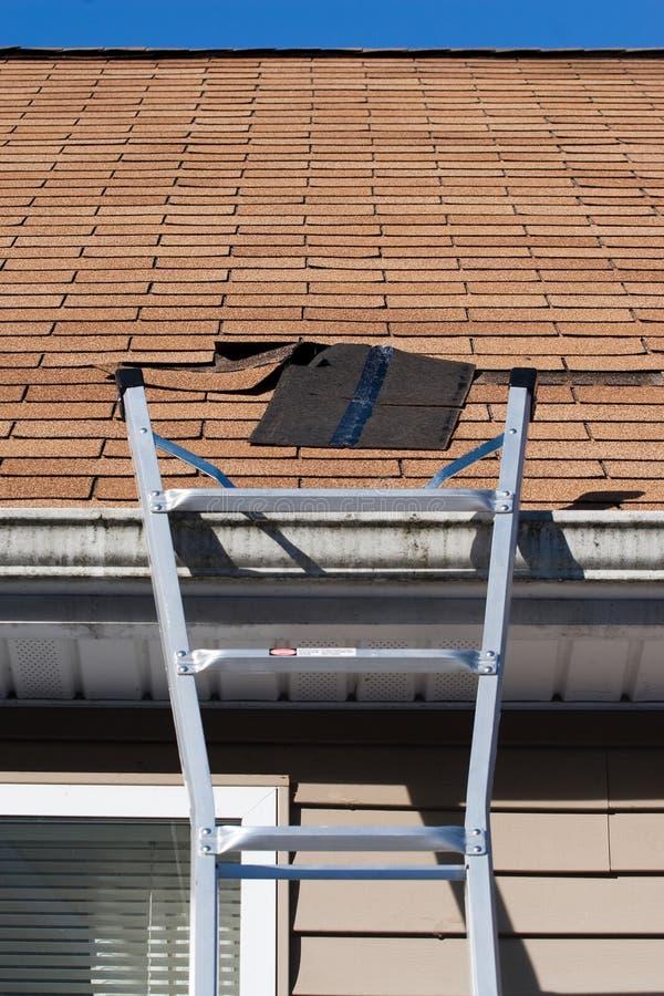 盛开的维修服务屋顶木瓦 免版税库存照片