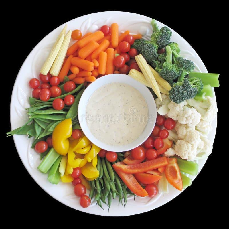盛肉盘蔬菜 库存图片