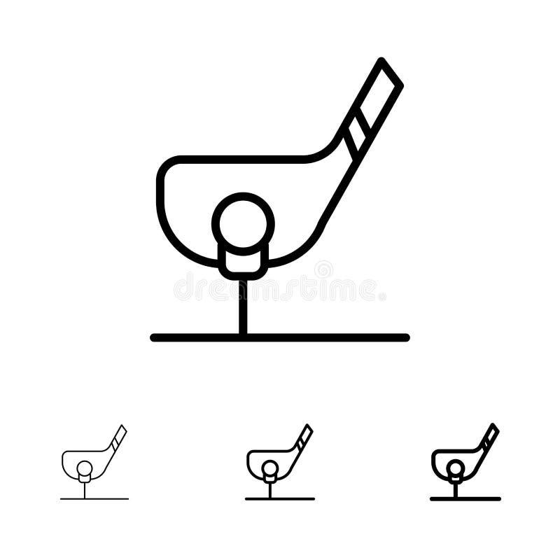 目标、球、俱乐部、高尔夫球,射击大胆和稀薄的黑线象集合 库存例证
