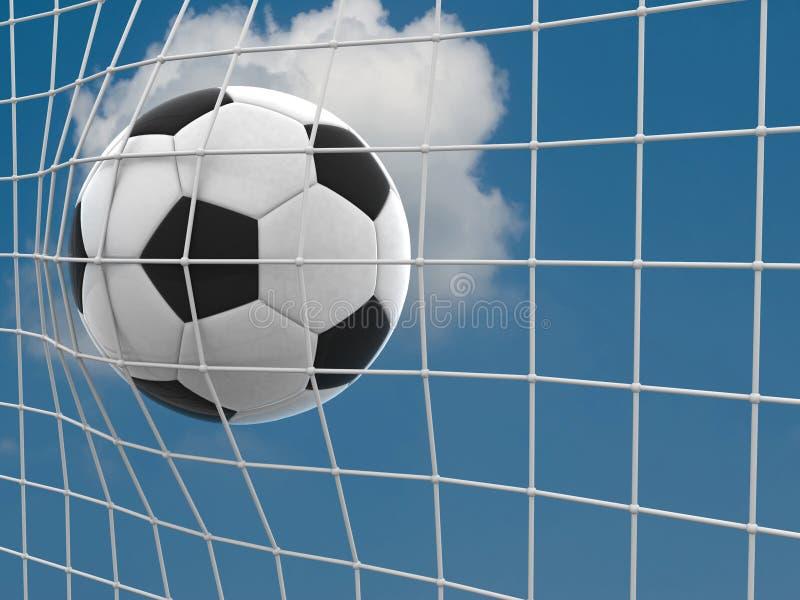 目标。 在净额的一个足球。 图库摄影