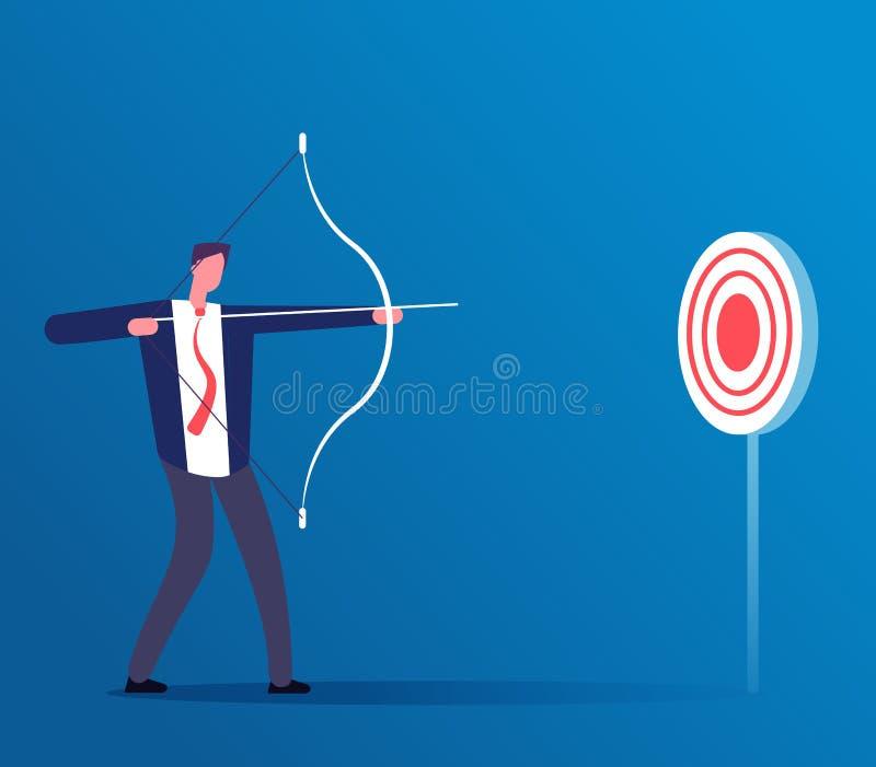 目标企业概念 击中与弓箭的商人目标 挑战和焦点经理,伸手可及的距离目标传染媒介 皇族释放例证