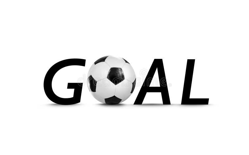 目标写与信件和足球 免版税库存照片