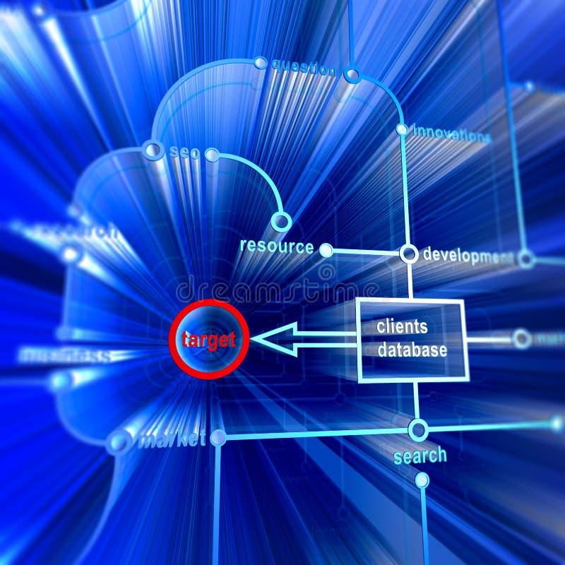 目标客户机数据库 库存例证