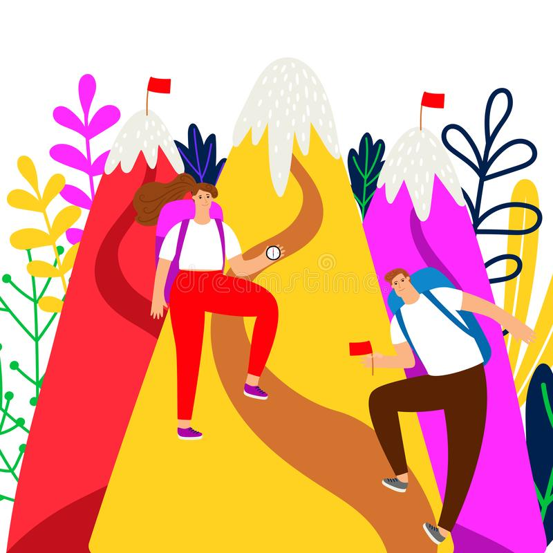 目标成就传染媒介概念 人和女孩登山人和山例证 库存例证