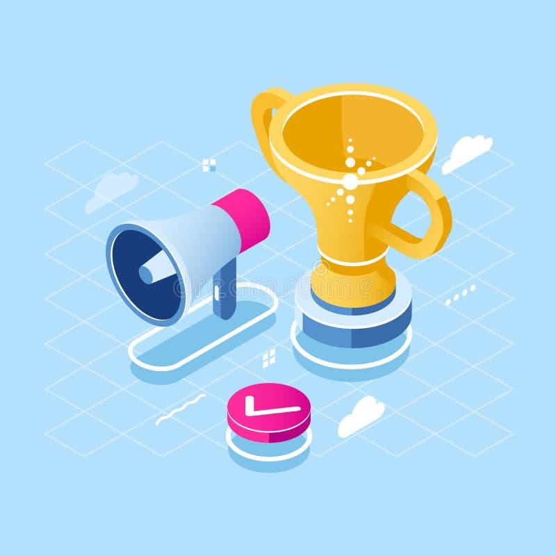 目标成就和刺激等量象、扩音器和奖杯、胜利和成功概念,奖平的传染媒介 库存例证