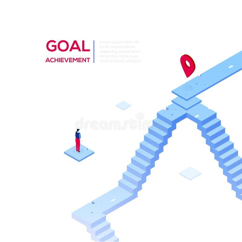 目标成就-现代等量传染媒介网横幅 库存例证