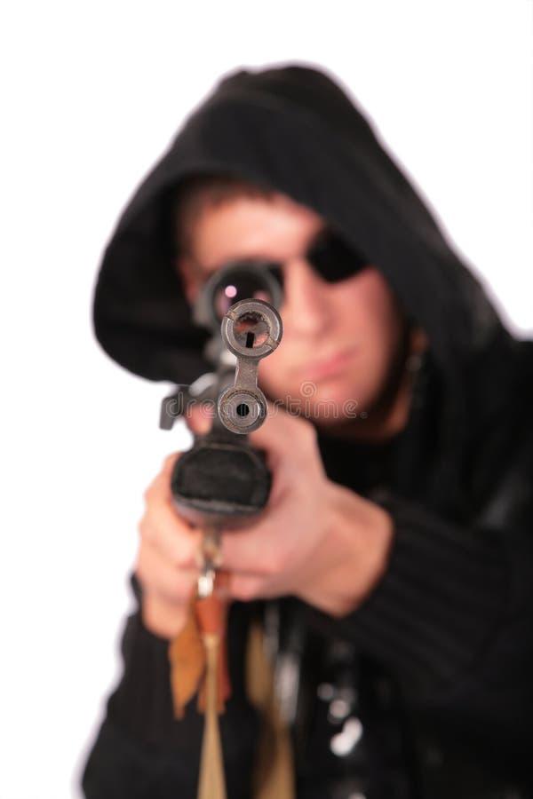 目标枪人老 库存照片