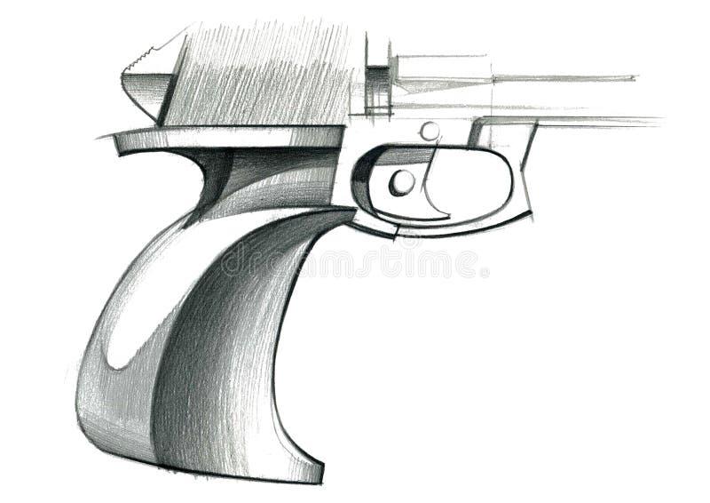 目标的人体工程的把柄的概念的图炫耀手枪 库存例证