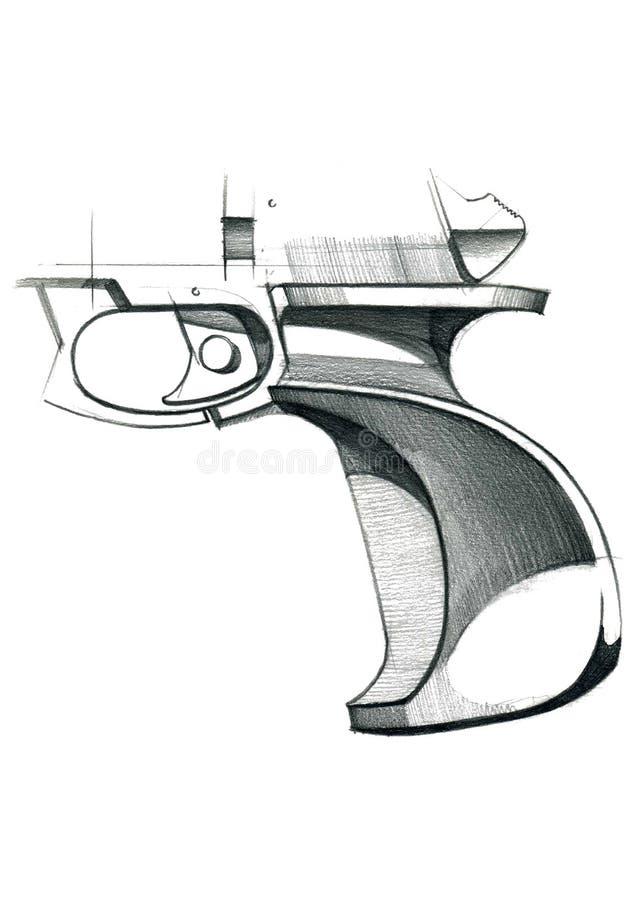 目标的人体工程的把柄的概念的图炫耀手枪 向量例证