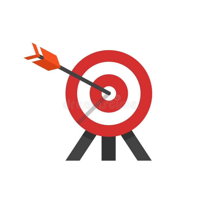 目标的平的样式例证与箭头的在三脚架的一个靶心 皇族释放例证