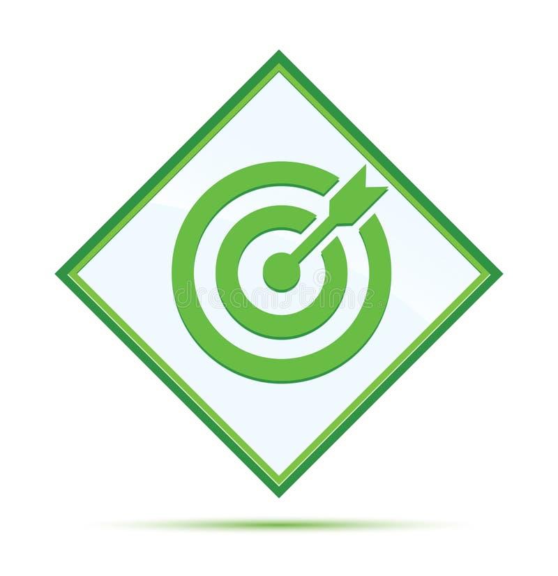 目标箭头象现代抽象绿色金刚石按钮 库存例证