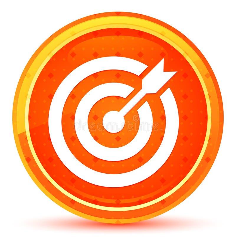 目标箭头象自然橙色圆的按钮 库存例证