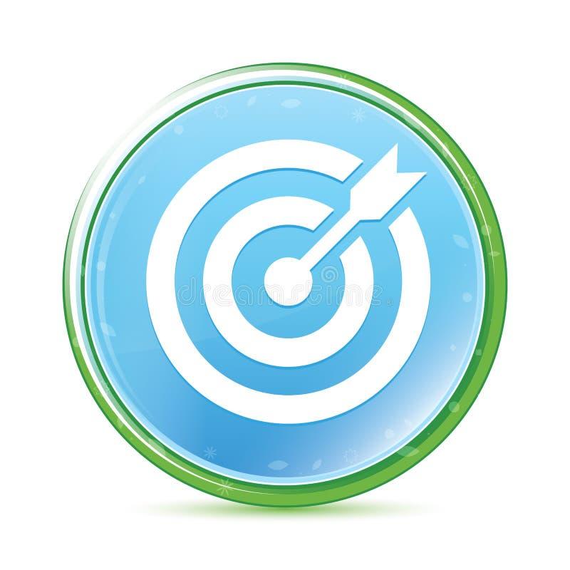 目标箭头象自然水色深蓝蓝色圆的按钮 向量例证