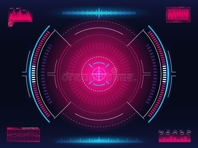 目标系统 现代瞄准的概念 与明亮的infographic元素的未来派HUD接口 武器十字准线模板 皇族释放例证