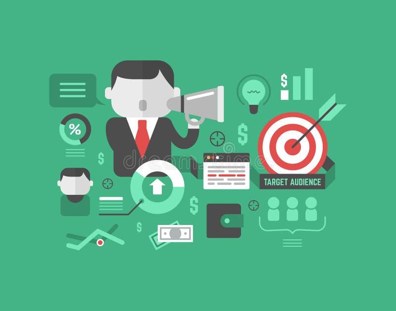 目标观众。数字式营销和广告概念 向量例证