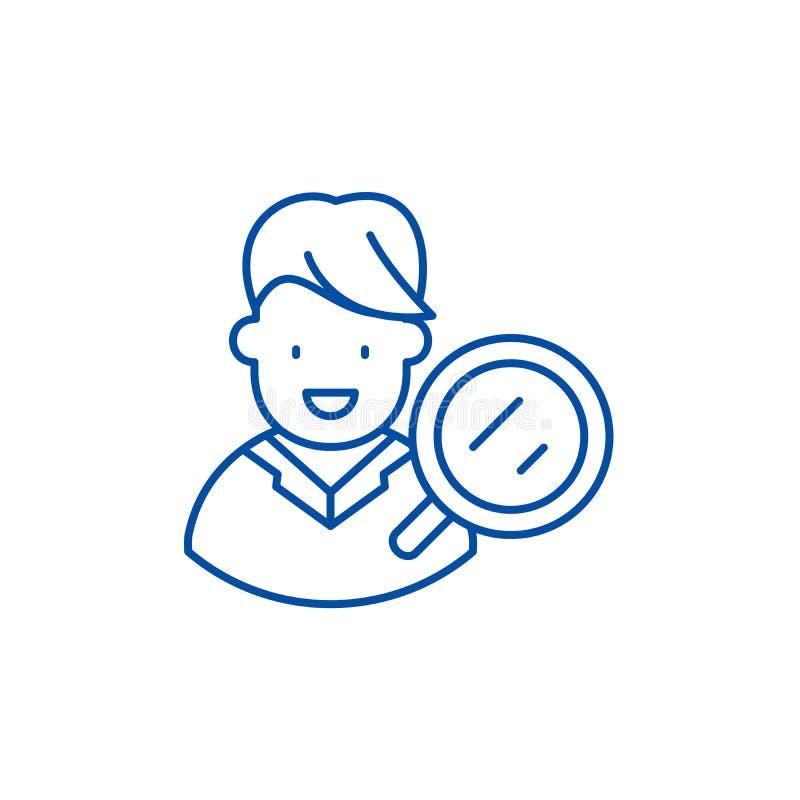 目标观众研究线象概念 目标观众研究平的传染媒介标志,标志,概述例证 库存例证