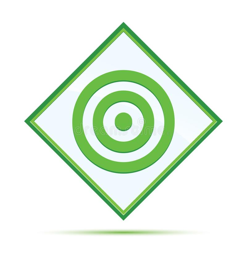 目标象现代抽象绿色金刚石按钮 库存例证