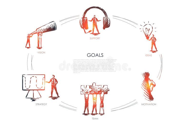 目标-视觉,支持,队,战略,刺激集合概念 库存例证