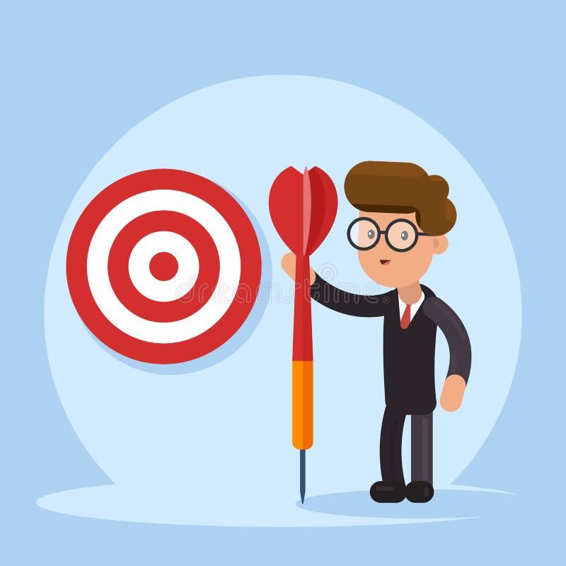 目的企业概念 与矛的有目的商人在手中站立与目标 目标的成就 向量 库存例证