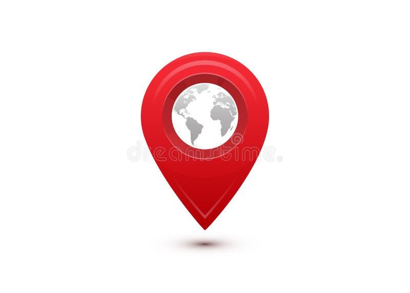 目的地概念 国际旅行旅途 与里面灰色世界地图的红色尖 向量例证