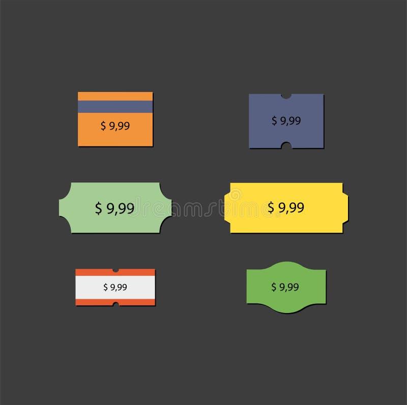 价目表价格标记 折扣和行动 向量例证
