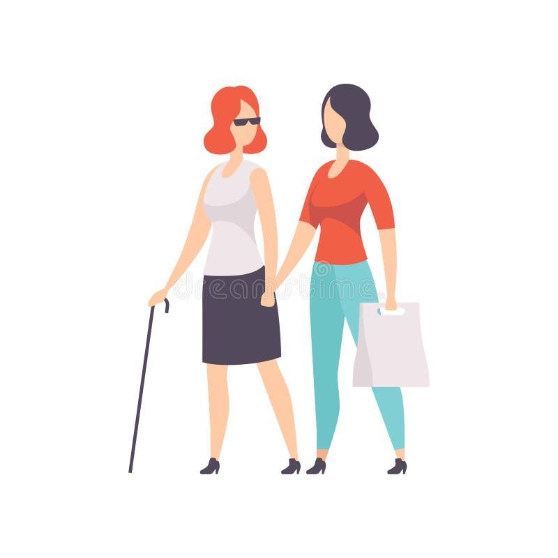 盲人支持她,残疾人生活方式和适应概念的女孩和她的朋友导航在a的例证 库存例证
