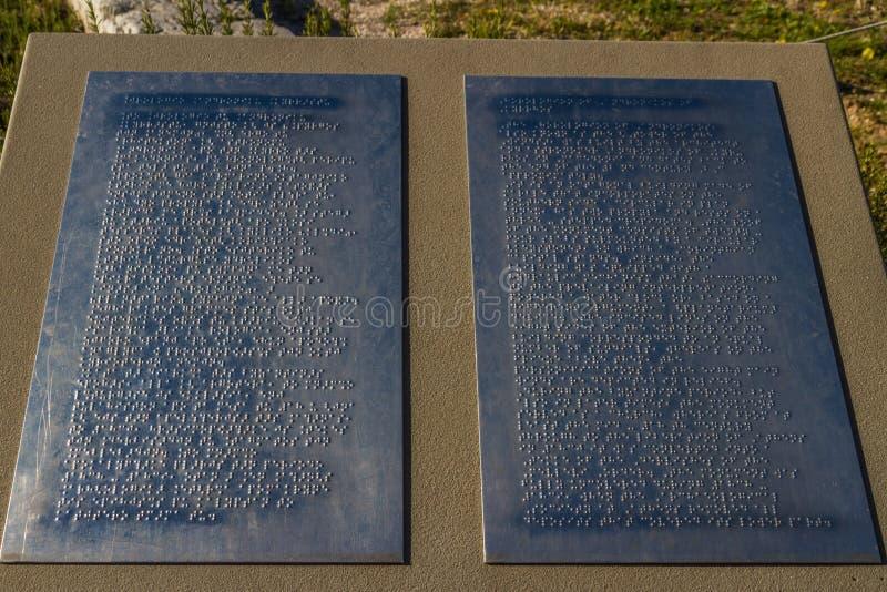 盲人识字系统板料用英语或希腊语 图库摄影