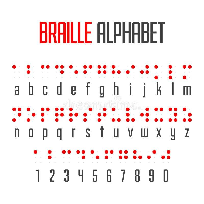 盲人识字系统字母表和数字 皇族释放例证