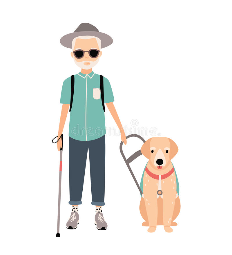 盲人 以有领路狗的五颜六色的图象视觉减弱的老人为特色在白色背景 平的传染媒介动画片 向量例证