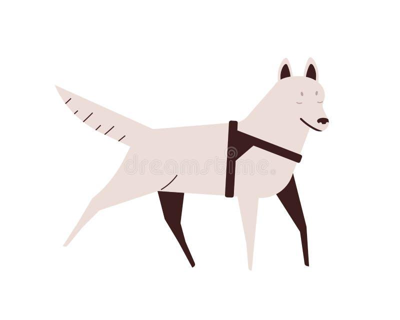 Blind dog flat vector illustration 活动跑宠物 有残疾的小狗,疾病概念 家畜设计 皇族释放例证