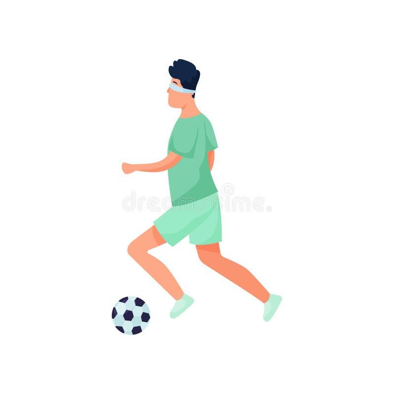 盲目的年轻人戏剧体育足球以伤残 皇族释放例证