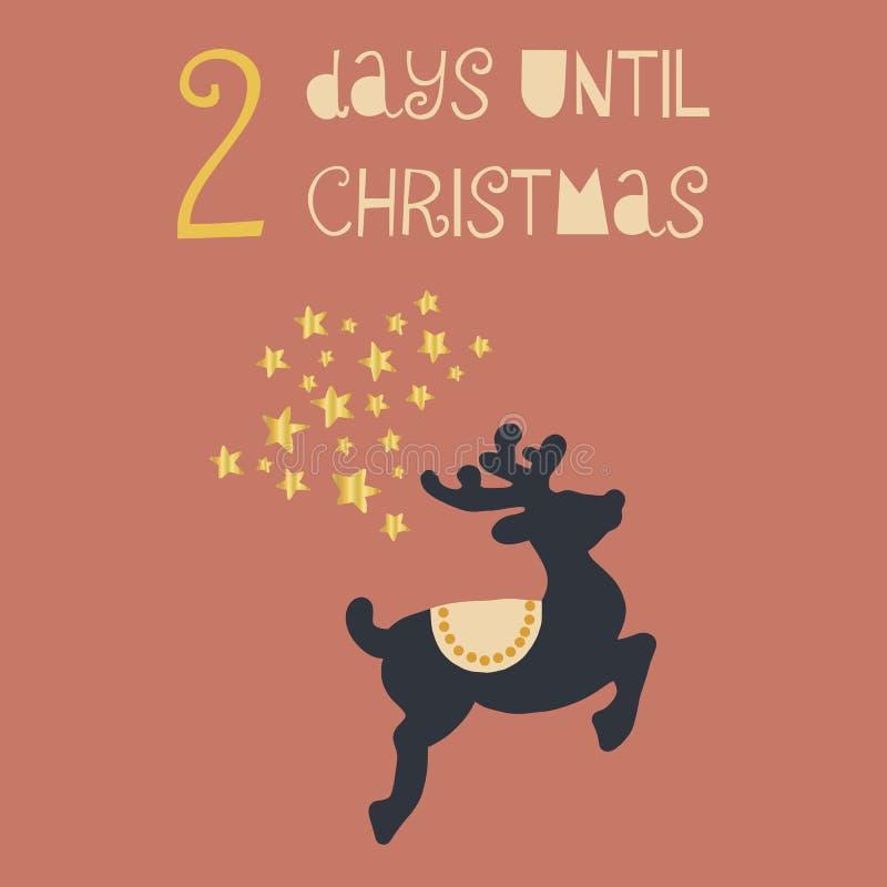 直到圣诞节传染媒介例证的2天 圣诞节读秒两天 例证百合红色样式葡萄酒 手拉的鹿和金箔星 库存例证