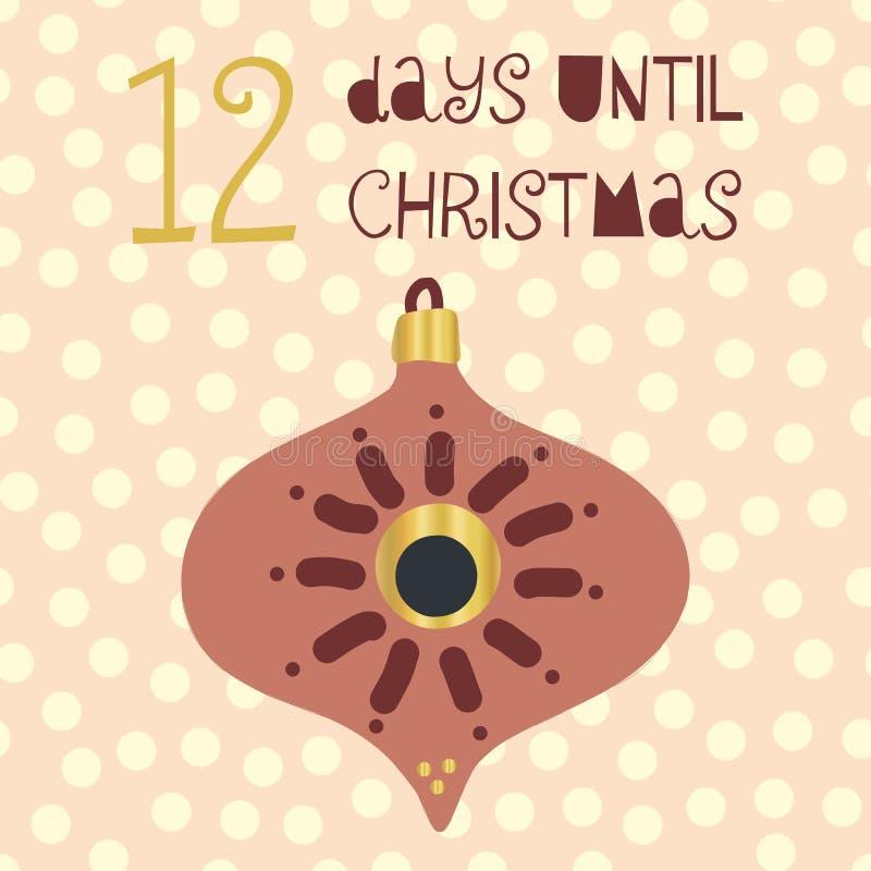 直到圣诞节传染媒介例证的12天 圣诞节读秒直到圣诞老人的十二天 葡萄酒斯堪的纳维亚样式 拉长的现有量 向量例证