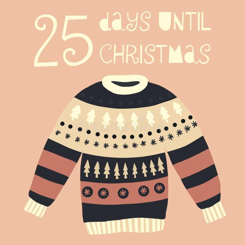 直到圣诞节传染媒介例证的25天 christmas countdown 库存例证