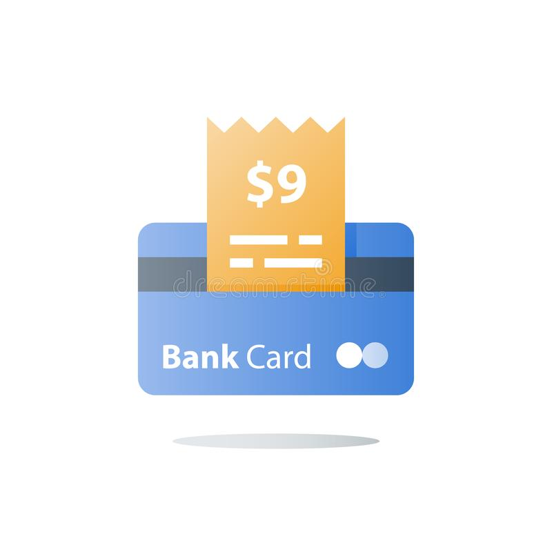 直到滑动和信用卡支付,购物的购买,传染媒介象 库存例证