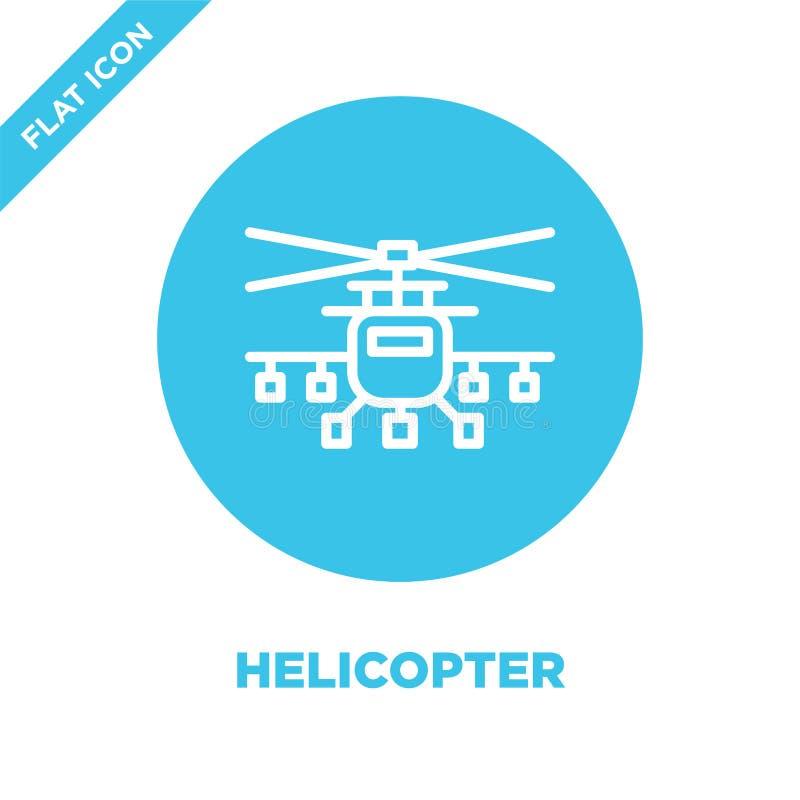 直升机从军事收藏的象传染媒介 稀薄的线直升机概述象传染媒介例证 线性标志为使用 向量例证