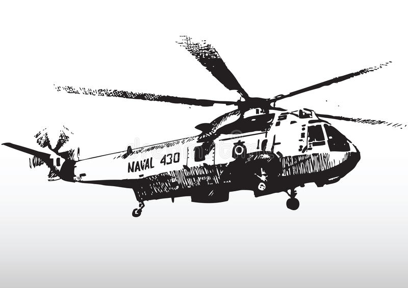 直升机军人现出轮廓 皇族释放例证
