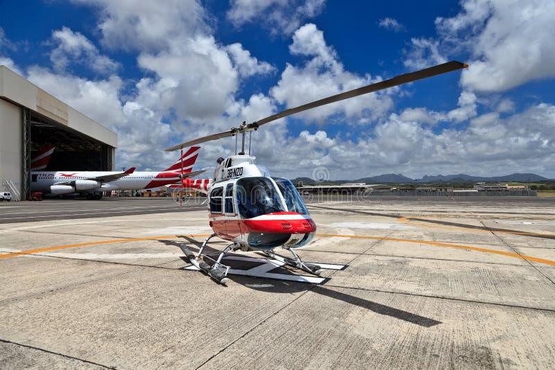 直升机在毛里求斯 库存照片