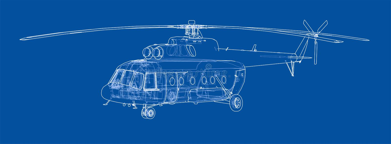 直升机工程图  库存例证