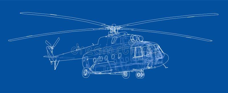直升机工程图  向量例证