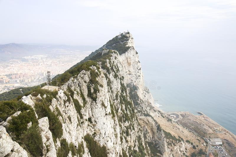 直布罗陀岩石,英国上面  免版税库存照片